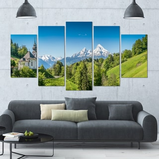 Designart 'Green Mountain View of Bavarian Alps' Large LandscapeArt - 60x32 5 Panels
