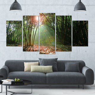 Designart 'Amazing Green Forest at Sunset' Landscape Wall Artwork on Canvas - 60x32 5 Panels