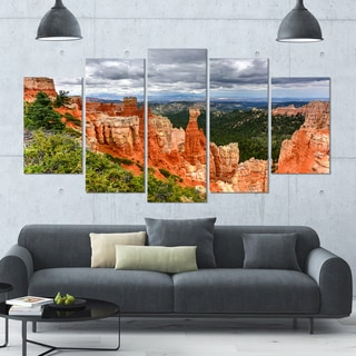 Designart 'Bryce Canyon National Park' Landscape Wall Artwork on Canvas - 60x32 5 Panels