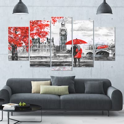 Designart 'Couples Walking in London' Landscape Wall Artwork Print on Canvas - 60x32 5 Panels