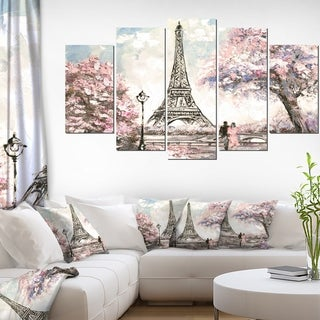 Designart 'Eiffel with Pink Flowers' Landscape Wall Artwork on Canvas