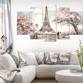 Designart 'Eiffel with Pink Flowers' Landscape Wall Artwork on Canvas - 60x32 5 Panels