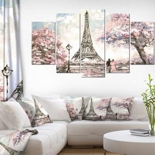 Designart 'Eiffel with Pink Flowers' Landscape Wall Artwork on Canvas