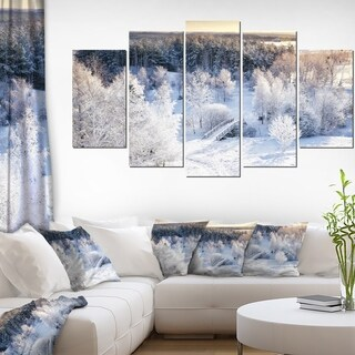 Beautiful Winter Panorama' Landscape Wall Artwork on Canvas