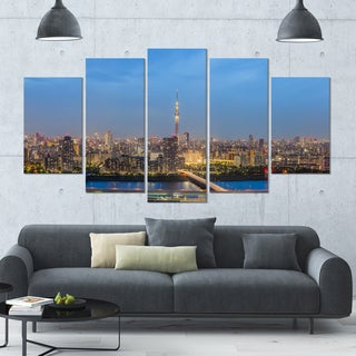 Designart 'Tokyo City View Panorama' Landscape Wall Artwork on Canvas - 60x32 5 Panels