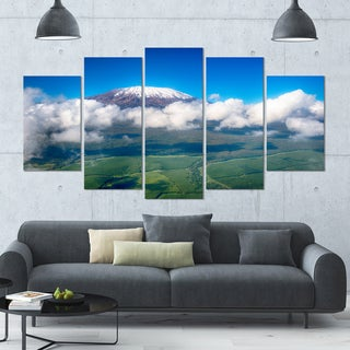 Designart 'Aerial View of Mount Kilimanjaro' Landscape Wall Artwork on Canvas - 60x32 5 Panels