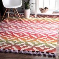 The Curated Nomad Cornwall Handmade Flatweave Bohemian Vibrant Wool Area Rug - 4' x 6'