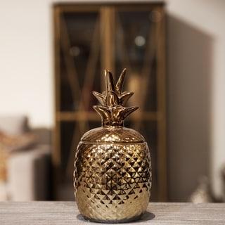 UTC44211: Ceramic 40 oz. Pineapple Canister LG Gloss Finish Copper