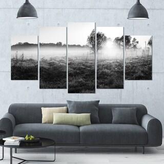 Designart 'Rural Meadow in Mist' Landscape Wall Artwork on Canvas - 60x32 5 Panels