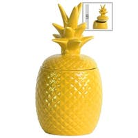 UTC44208: Ceramic 40 oz. Pineapple Canister LG Gloss Finish Yellow