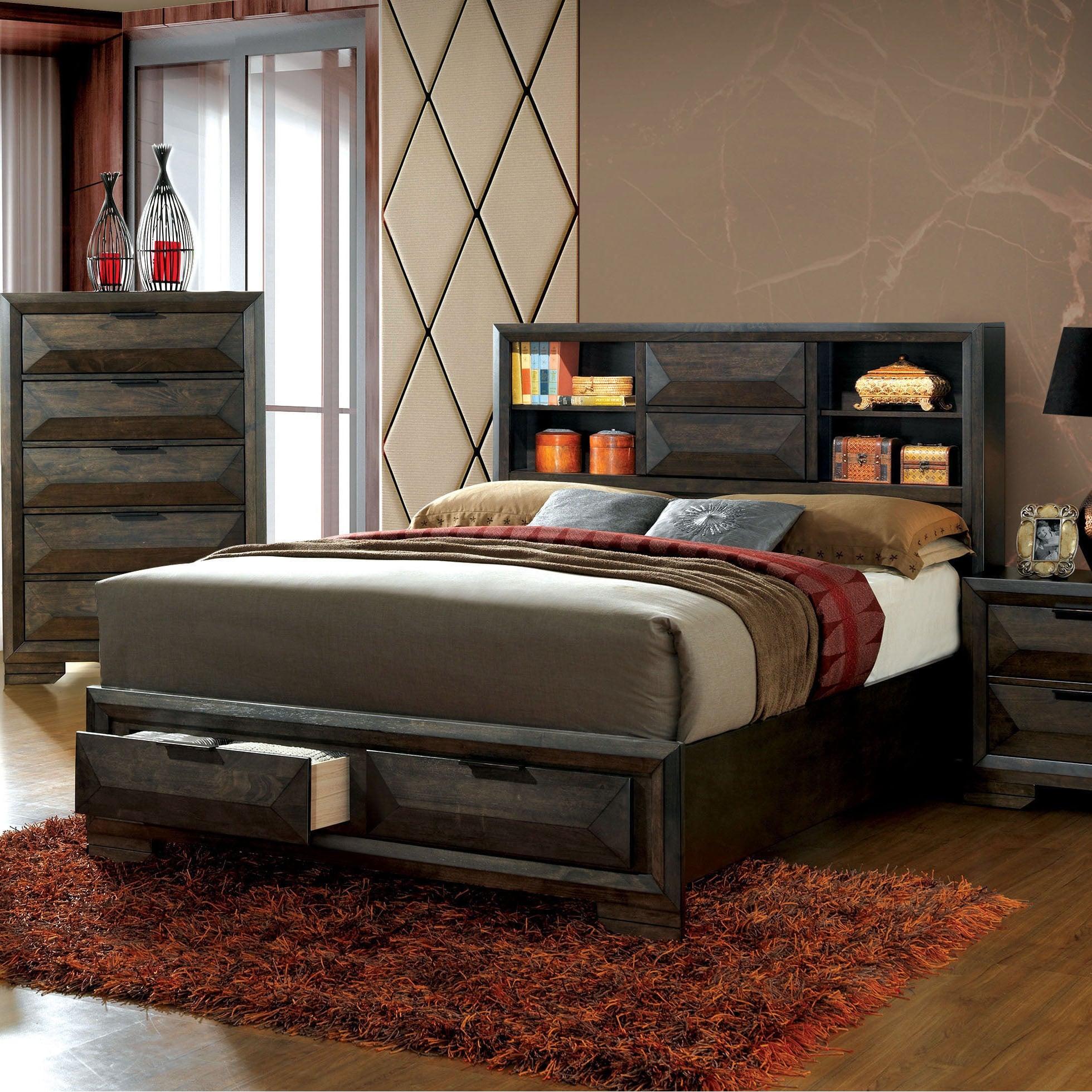 Furniture Of America Kini Contemporary Espresso Solid Wood Storage Bed