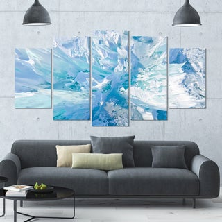 Designart 'Blue Ice Hummocks Baikal' Landscape Wall Artwork on Canvas - 60x32 5 Panels