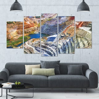 Designart 'Impressive Mines and Canyon' Landscape Wall Artwork on Canvas - 60x32 5 Panels