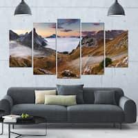 Designart 'Beautiful Summer Panorama' Landscape Wall Artwork on Canvas - 60x32 5 Panels - Multi-color