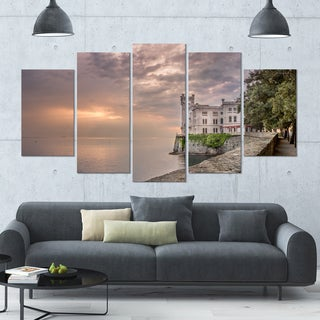 Designart 'Miramare Castle at Sunset' Landscape Wall Artwork on Canvas - 60x32 5 Panels