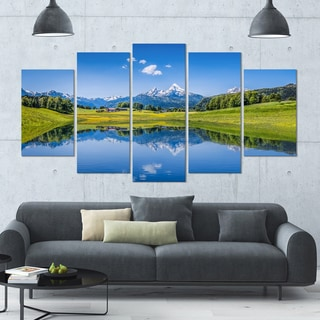 Designart 'Summer with Clear Mountain Lake' Landscape Wall Artwork on Canvas - 60x32 5 Panels