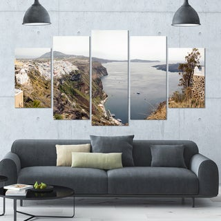 Designart 'Beautiful View of Santorini Island' Landscape Wall Artwork on Canvas - 60x32 5 Panels