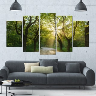 Designart 'Evening in Green Forest' Landscape Wall Artwork on Canvas - 60x32 5 Panels
