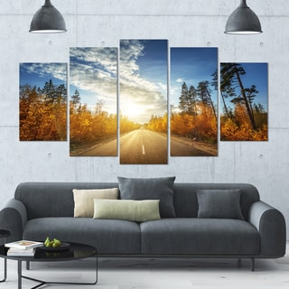 Designart 'Road in Fall Forest Panorama' Landscape Wall Artwork on Canvas - 60x32 5 Panels
