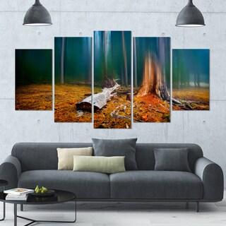 Designart 'Blue Forest on Foggy Morning' Landscape Wall Artwork on Canvas - 60x32 5 Panels