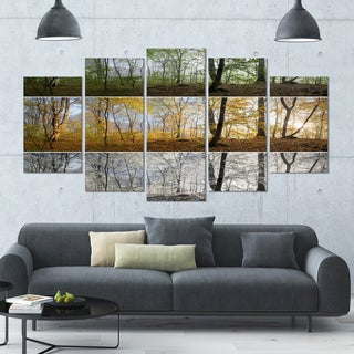 Designart 'Three Seasons Forest Panorama' Landscape Wall Artwork on Canvas - 60x32 5 Panels