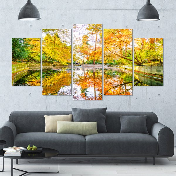 Designart \'Bright Fall Forest with River\' Landscape Wall Artwork on ...