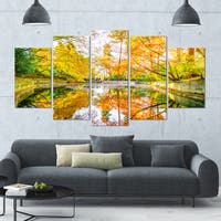 Designart 'Bright Fall Forest with River' Landscape Wall Artwork on Canvas - 60x32 5 Panels