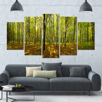 Designart 'Green Autumn Forest Panorama' Landscape Wall Artwork on Canvas - 60x32 5 Panels