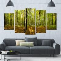 Designart 'Green Autumn Forest Panorama' Landscape Wall Artwork on Canvas - 60x32 5 Panels - Green