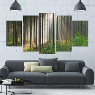 Designart 'Green Forest in Mist Panorama' Landscape Wall Artwork on Canvas - 60x32 5 Panels