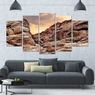Designart 'Scenic Red Rock Canyon in Nevada' Landscape Wall Artwork on Canvas - 60x32 5 Panels