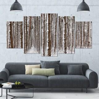 Designart 'Dense Pine Forest in Winter' Landscape Wall Artwork on Canvas - 60x32 5 Panels - Multi-color