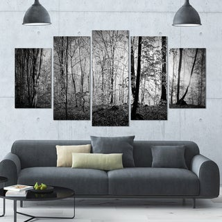 Designart 'Beautiful Forest Morning Panorama' Landscape Wall Artwork on Canvas - 60x32 5 Panels