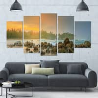 Designart 'Untouched Tropical Beach Panorama' Landscape Wall Artwork on Canvas - 60x32 5 Panels - Multi-color