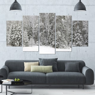 Designart 'Foggy Winter Forest Panorama' Landscape Wall Artwork on Canvas - 60x32 5 Panels
