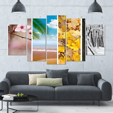 Designart 'Four Seasons World Collage' Landscape Wall Artwork on Canvas - 60x32 5 Panels - Multi-color