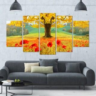 DesignArt 'Beautiful Autumn Yellow Tree' Modern Floral Canvas Art - 60x32 5 Panels