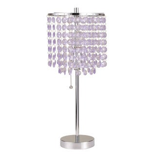 Acme Furniture Vicka Chandelier Shade and Brushed Silver Table Lamp (Set of 2)