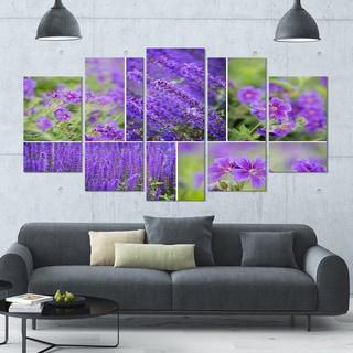Designart 'Blue Spring Flowers Collage' Modern Floral Canvas Art - 60x32 5 Panels