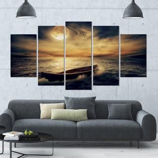 Designart 'Middle of Ocean after Storm' Seascape Canvas Wall Artwork - 60x32 5 Panels - Multi-color