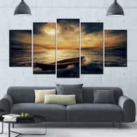 Designart 'Middle of Ocean after Storm' Seascape Canvas Wall Artwork - 60x32 5 Panels - Multi-color
