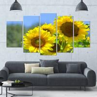 Designart 'Beautiful Sunflowers View' Floral Canvas Wall Artwork - 60x32 5 Panels