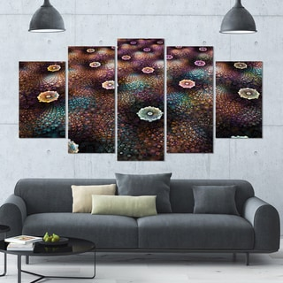 Designart 'Brown Flowers on Alien Planet' Floral Canvas Wall Artwork - 60x32 5 Panels
