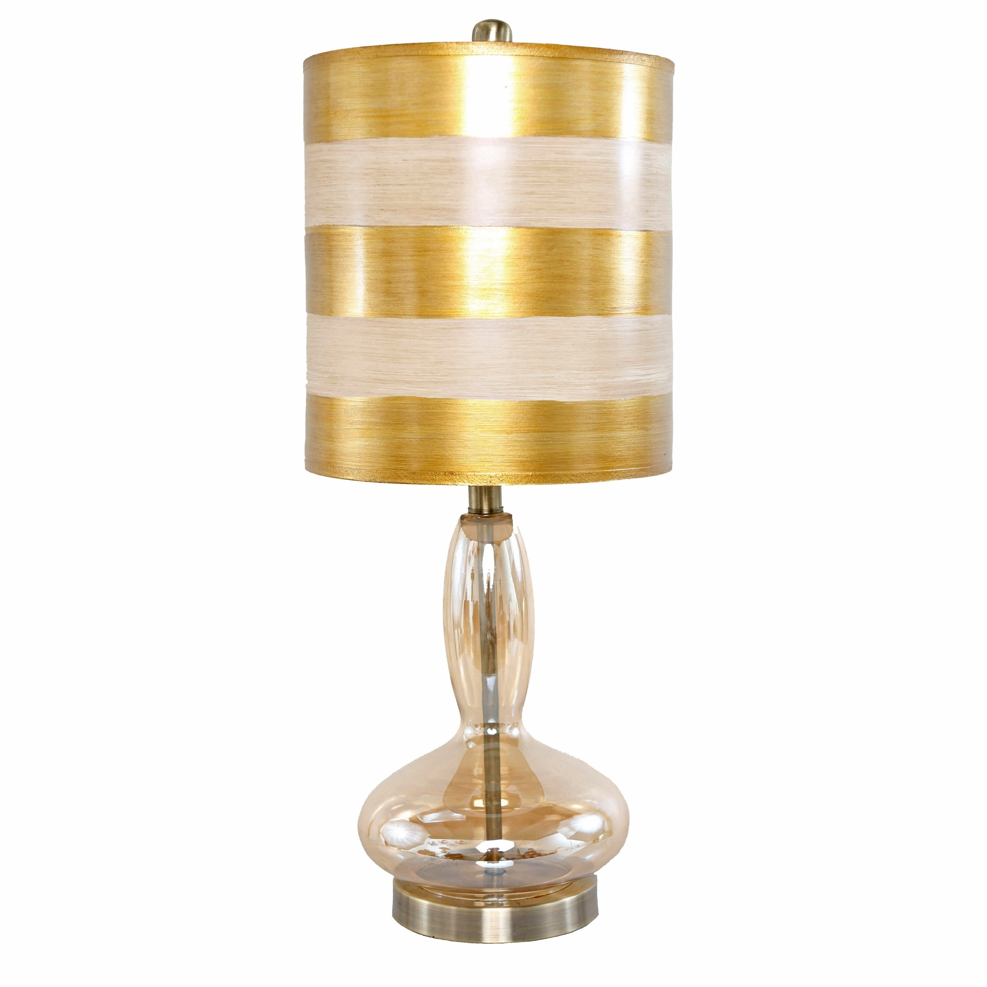 Silver Orchid Yorke Golden Handblown Curved Glass Base 24.5-inch high Art Deco Table Lamp