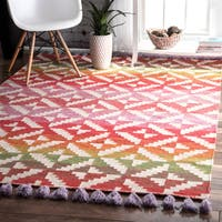 The Curated Nomad Cornwall Handmade Bohemian Flatweave Area Rug - 7'6 x 9'6
