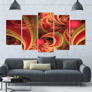 Designart 'Pink Symmetrical Fractal Pattern' Floral Canvas Wall Artwork - 60x32 5 Panels