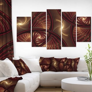 Designart Brown Symmetrical Fractal Pattern Floral Canvas Wall Artwork