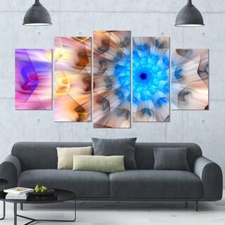 Designart 'Blue Fractal Petals Dandelion' Floral Canvas Wall Artwork - 60x32 5 Panels
