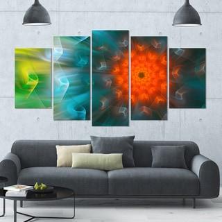 Designart 'Multi-Color Fractal Petals Dandelion' Floral Canvas Wall Artwork - 60x32 5 Panels