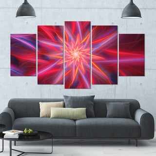 Designart 'Shining Red Purple Exotic Flower' Floral Wall Art on Canvas - 60x32 5 Panels